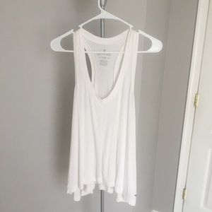 Soft & Sexy American Eagle Flowy Tank in White